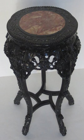 Antique Chinese Carved Wood Side Table With Marble Top - Marble and wood side table