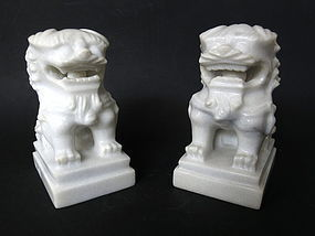 Chinese Pair of Marble Fu Dog Carvings