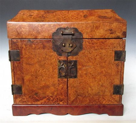 Click To View Additional Photos. Antique Chinese Burl Storage Box