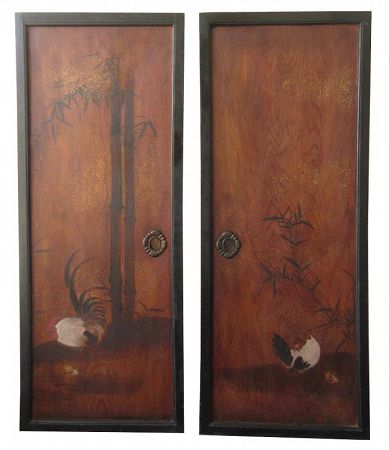 Click to view additional photos. Antique Japanese Pair of Painted Fusuma Doors & Antique Japanese Pair of Painted Fusuma Doors.