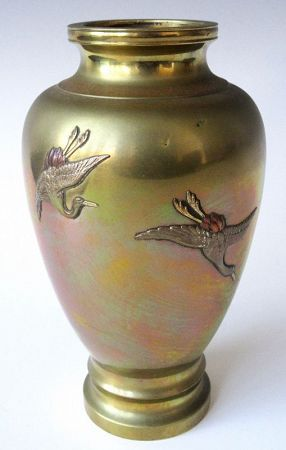 Antique Japanese Bronze Vase With Inlay Cranes Signed